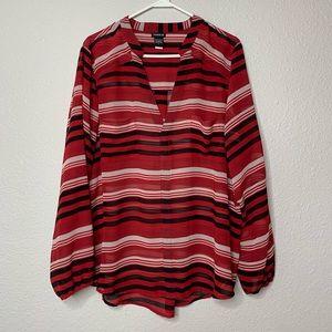 Torrid Red Top w/ white & black stripes sz 2